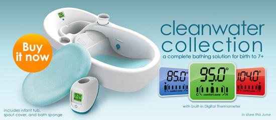 Cleanwater Collection, bañera para bebé con agua siempre limpia y control de temperatura de 4moms