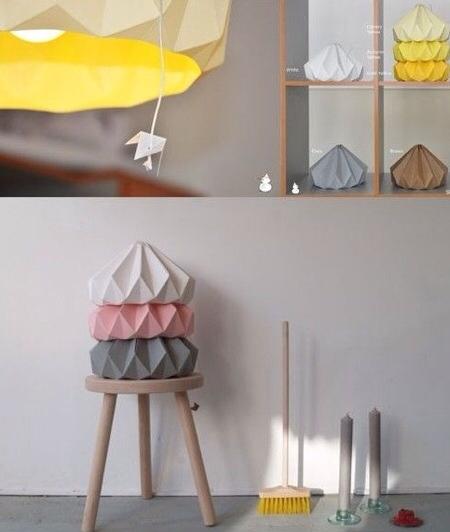Studio snowpuppe lamparas origami de colores para la - Lampara habitacion infantil ...