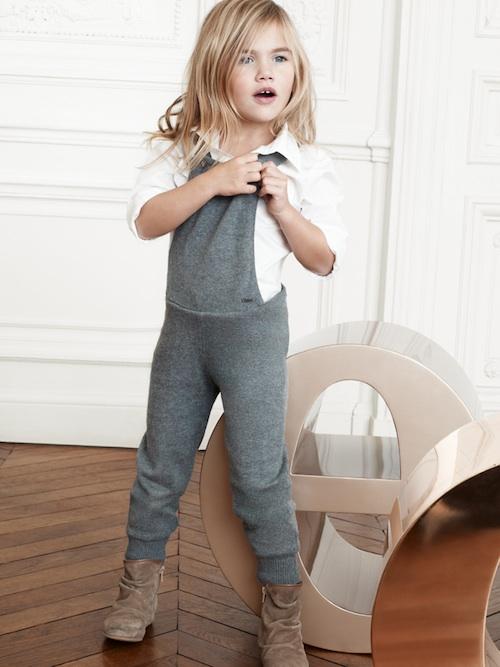Chloé ropa para niñas, moda infantil para niñas otoño-invierno de Chloé
