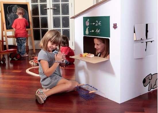 Set de Cartró, casita para montar, pintar y jugar, caSETa de cartón para los niños, regalos infantiles originales de Set de Cartró