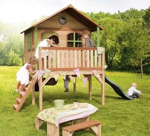 Casitas de madera y muebles de jardín para niños